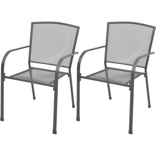 Stapelbare Gartenstühle 2 Stk. Stahl Grau