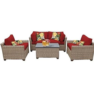 TK Classics 5 Piece Monterey Outdoor Wicker Patio Furniture Set, Terracotta 05b
