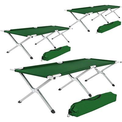 3 camping beds made of aluminium - folding camp bed, single camp bed, camping cot - green