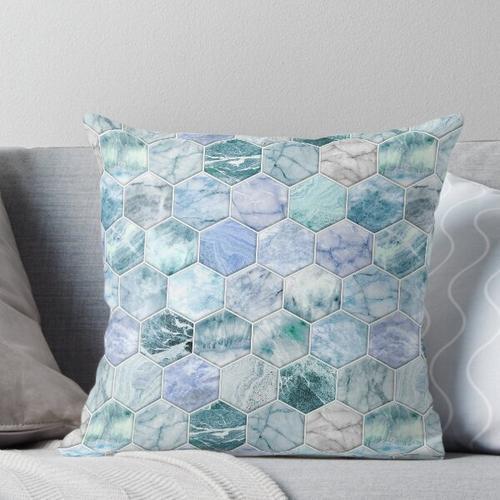 Ice Blue und Jade Stein und Marmor Hexagon Fliesen Kissen