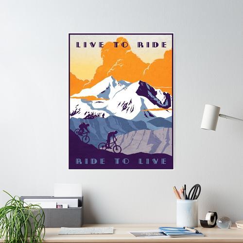 Live to Ride, Ride to Live Retro-Radsportplakat Poster