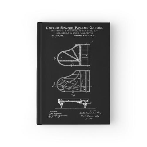 Steinway Klavierlack Weiß Notizbuch