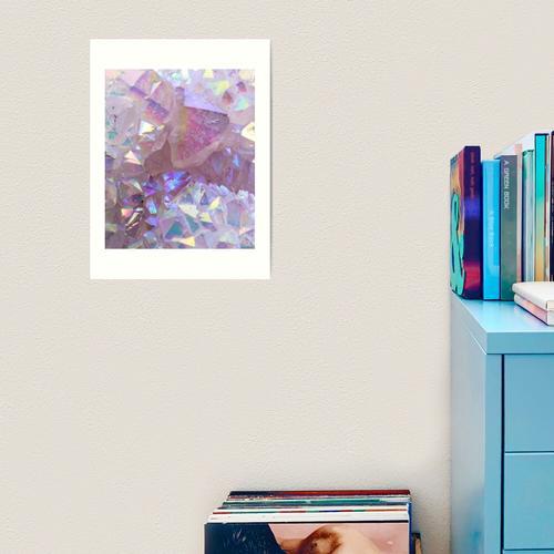 Rosa Aura-Kristalle Kunstdruck