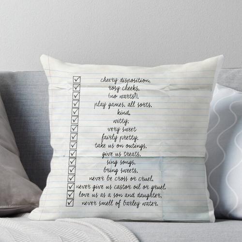 Kindermädchen Checkliste Kissen