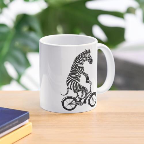 Zebra auf Fahrrad Tasse