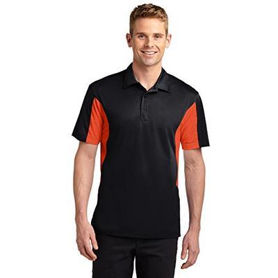 Sport-Tek Men's Tall Side Blocked Micropique Sport Wick 2XLT Black/Deep Orange