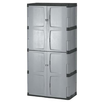 Rubbermaid 72-Inch Four-Shelf Double-Door Resin Storage Cabinet (FG708300MICHR)