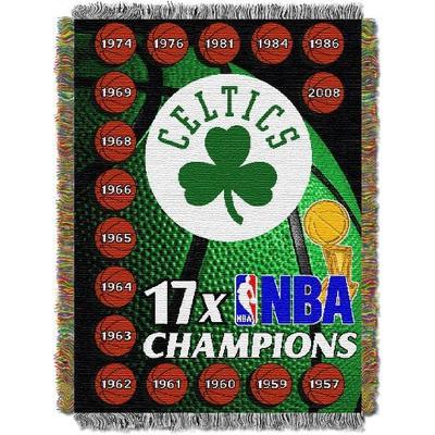 "Officially Licensed NBA Boston Celtics Commemorative Woven Tapestry Throw Blanket, 48"" x 60"""