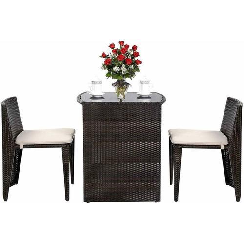 COSTWAY 3tlg.Polyrattan Sitzgruppe Lounge Set Rattanmoebel, Gartenmoebel Gartenlounge