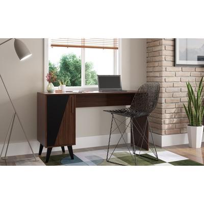 Manhattan Comfort 134AMC158 - Hogan 2- Shelf Mid Century Office Desk in Dark Brown