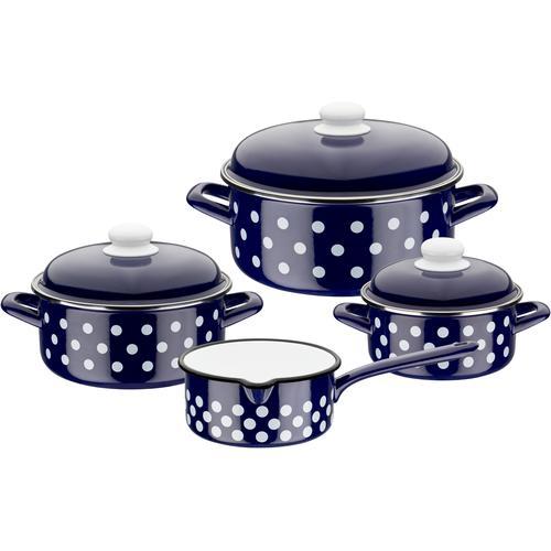 GSW Topf-Set, Stahl-Emaille, (Set, 7 tlg.), inkl. Literskala, Induktion blau Topfsets Töpfe Haushaltswaren Topf-Set