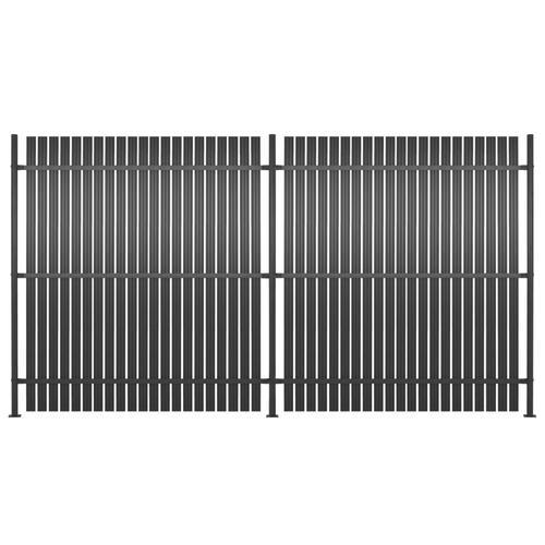 vidaXL Zaunelement 2 Stk. Aluminium 360 x 180 cm Anthrazit