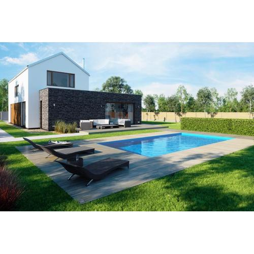 Fertigpool-Komplettset G1 mit Skimmer Fertigbecken 3,00 x 4,00m und Pool-Überdachung / Pooldach