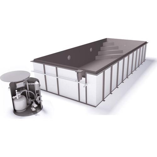 Skimmerpool-Komplettset G1 mit Skimmer 2,70 x 6,00m und Pool-Überdachung / Pooldach