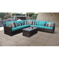 kathy ireland Homes & Gardens River Brook 8 Piece Outdoor Wicker Patio Furniture Set 08a in Aqua - TK Classics River-08A-Aruba