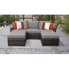 kathy ireland Homes & Gardens River Brook 5 Piece Outdoor Wicker Patio Furniture Set 05e in Slate - TK Classics River-05E-Grey