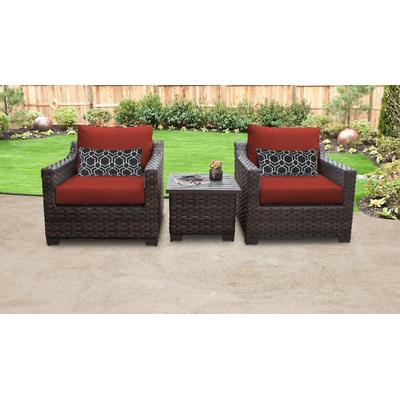 kathy ireland Homes & Gardens River Brook 3 Piece Outdoor Wicker Patio Furniture Set 03a in Cinnamon - TK Classics River-03A-Terracotta