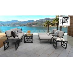 kathy ireland Homes & Gardens Madison Ave. 10 Piece Outdoor Aluminum Patio Furniture Set 10c in Almond - TK Classics Madison-10C-Beige