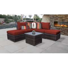 kathy ireland Homes & Gardens River Brook 6 Piece Outdoor Wicker Patio Furniture Set 06b in Cinnamon - TK Classics River-06B-Terracotta