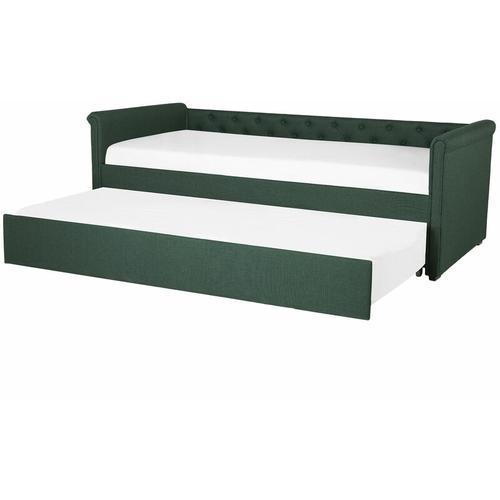 Tagesbett Ausziehbett Grün 90 x 200 cm Ausziehbar Polsterbezug Leinenoptik Mit Lattenrost