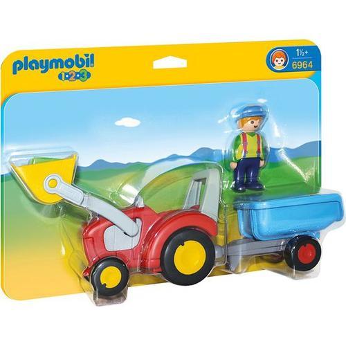 PLAYMOBIL® 1.2.3 6964 Traktor mit Anhänger, bunt