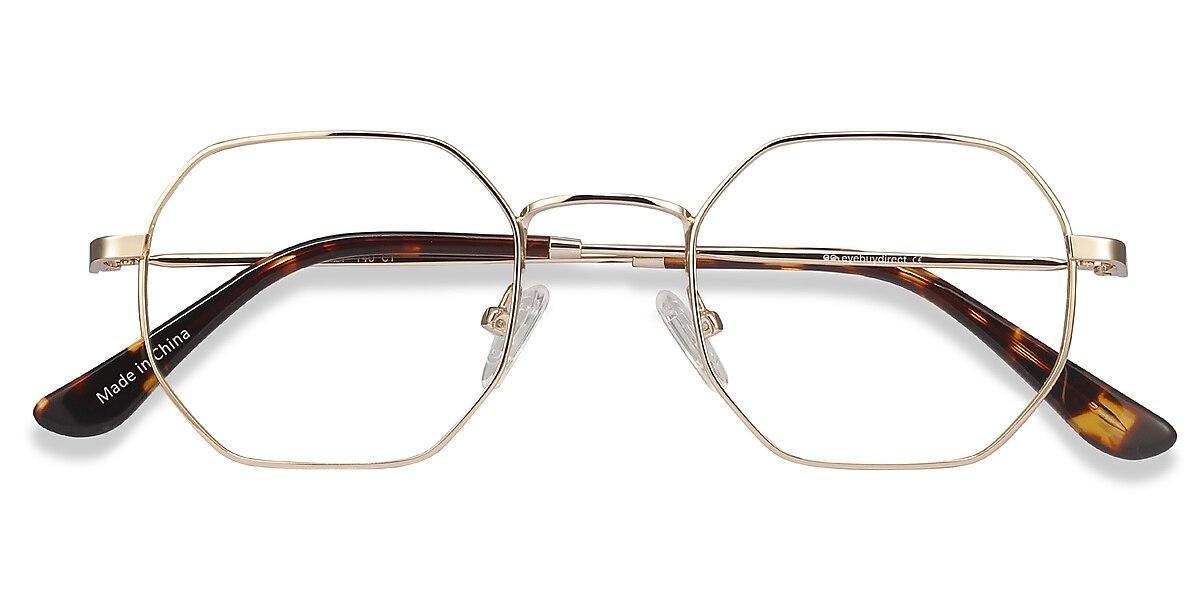 Unisex Geometric Golden Metal Prescription eyeglasses - EyeBuydirect's Soar