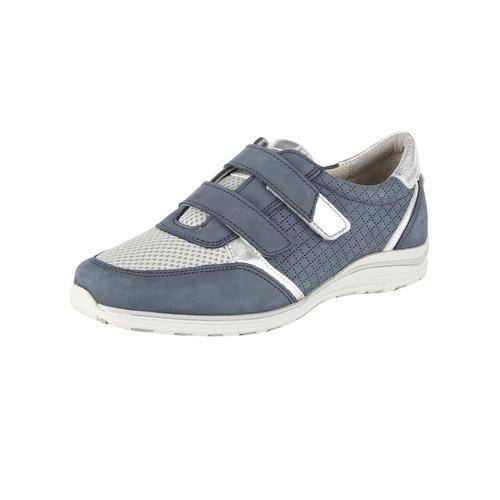 Naturläufer Klettslipper in hübscher Materialkombination blau Damen Slip ons Slipper Slipper/ Halbschuhe