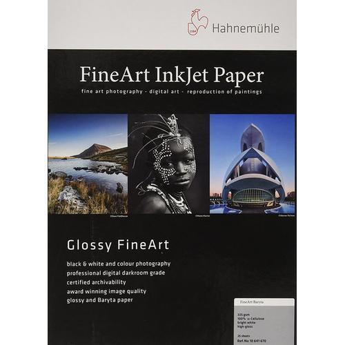 Hahnemühle FineArt Baryta Highgloss (325g/m², A3+, 25x), Fotopapier, Weiss