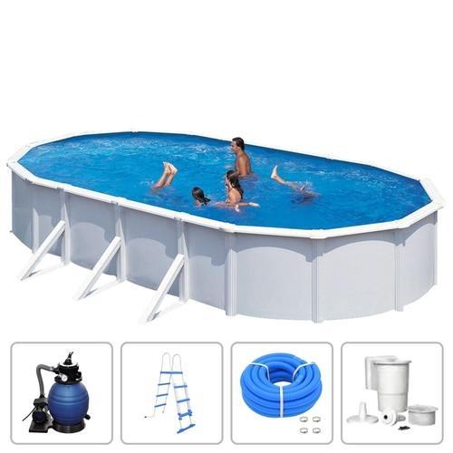 KWAD Schwimmbad-Set Steely Deluxe Oval 7,3 x 3,6 x 1,2 m
