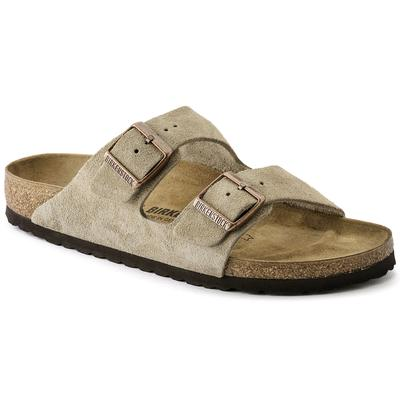 BIRKENSTOCK Arizona Suede Leather Taupe Two-Strap Sandals