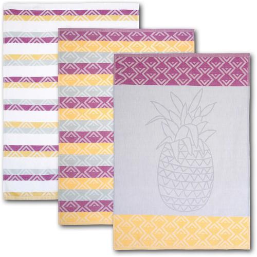 Dyckhoff Geschirrtuch Ananas, mit drei verschiedenen Motiven bunt Geschirrtücher Küchenhelfer Haushaltswaren
