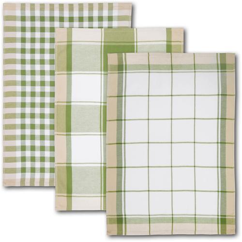 Dyckhoff Geschirrtuch KARO, (Set, 6 tlg.), mit drei verschiedenen Motiven grün Geschirrtücher Küchenhelfer Haushaltswaren