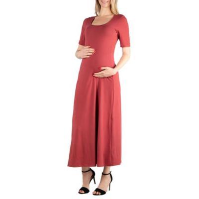 24seven Comfort Apparel Brick Maternity Elbow Sleeve Maxi Dress