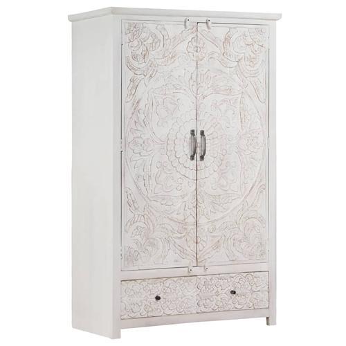 vidaXL Kleiderschrank Handgemacht Weiß 110x56x183 cm Massivholz Akazie