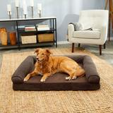 FurHaven Faux Fleece Cooling Gel Bolster Dog Bed w/Removable Cover, Coffee, Jumbo