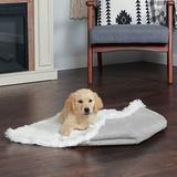 FurHaven Self-Warming Convertible Cuddle Mat Bolster Cat & Dog Bed, Silver, Large