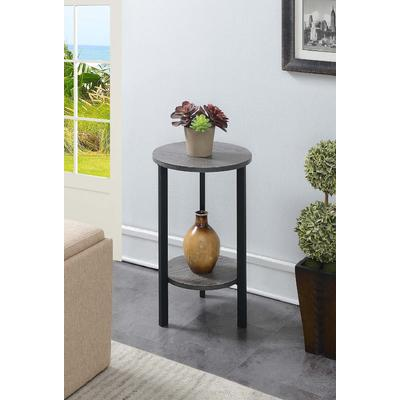 Graystone 24 inch Plant Stand in Weathered Gray/Black - Convenience Concepts 111254WGYBL