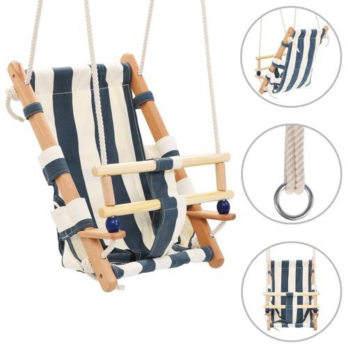 vidaXL Babyschaukel mit Sicherheitsgurt Baumwolle Holz Blau