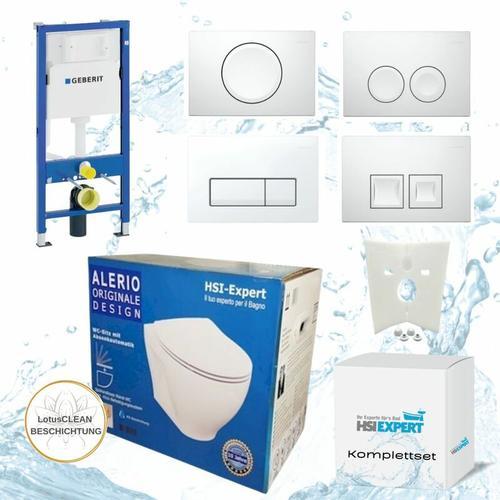 Vorwandelement + Alerio WC + Drückerplatte + WC-Sitz Delta21 - Geberit