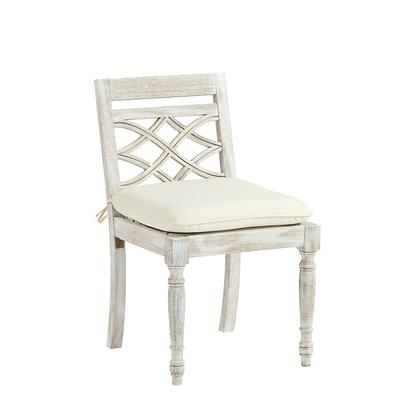 Ceylon Whitewash Side Chair Replacement Cushion Canvas Navy Sunbrella - Ballard Designs