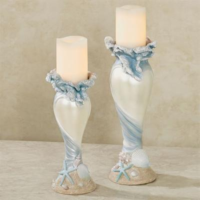 Rising Tides Candleholders Blue Set of Two, Set of Two, Blue