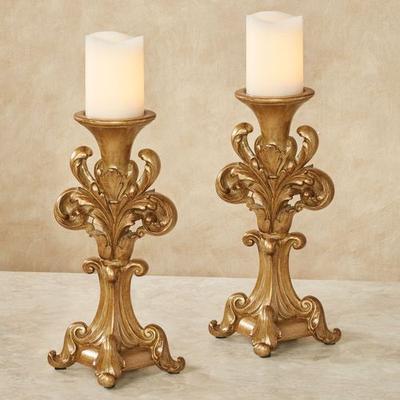 Fleurissa Candleholder Pair Burnished Gold, Pair, Burnished Gold