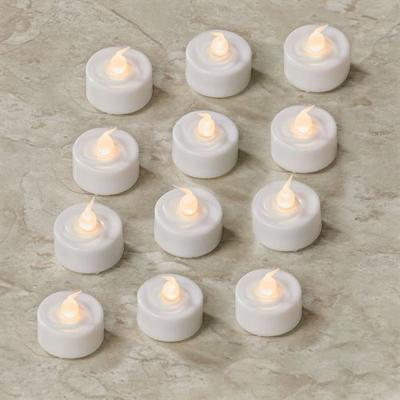 Ava LED Flameless Tealight Candles White Set of Twelve, Set of Twelve, White