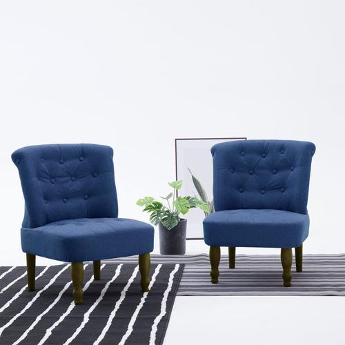vidaXL Französischer Stuhl Blau Stoff