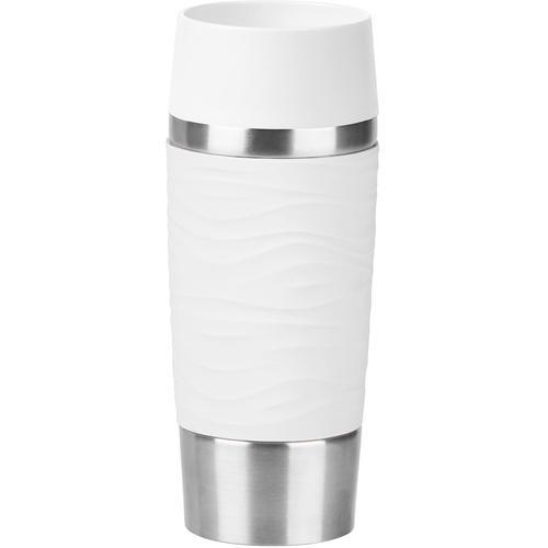 Emsa Thermobecher Travel Mug Wave, 360 ml weiß und Coffee to go Geschirr, Porzellan Tischaccessoires Haushaltswaren