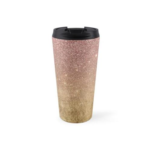 Rosa Rose Gold Glitter und Goldfolie Mesh Thermosbecher