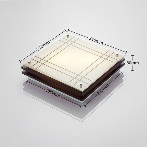 Holz-Deckenlampe Thees mit kariertem Glas, 31 cm