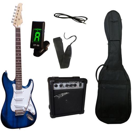 Gitarrenset E-Gitarre - ready to go, inkl. Verstärker, Gitarrentasche, Gitarrengurt, Klinkenkabel und Stimmgerät blau Gitarre Musikinstrumente