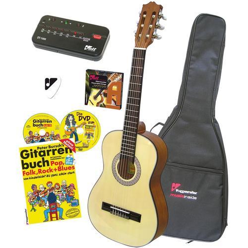 Voggenreiter Akustikgitarre VOLT Akustikgitarren-Set, 4/4 beige Audio SOFORT LIEFERBARE Technik