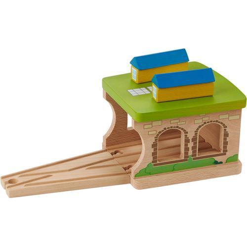 EverEarth Spielzeugeisenbahn-Gebäude Eisenbahnschuppen, FSC-Holz aus gewissenhaft bewirtschafteten Wäldern bunt Kinder Holzspielzeug